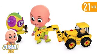 The Tractor broken down! Excavator help Tractor  - Construction trucks for kids