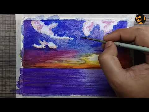 Sunset in the Ocean | Simple Landscape Painting I Easy Watercolor Tutorial for Beginners