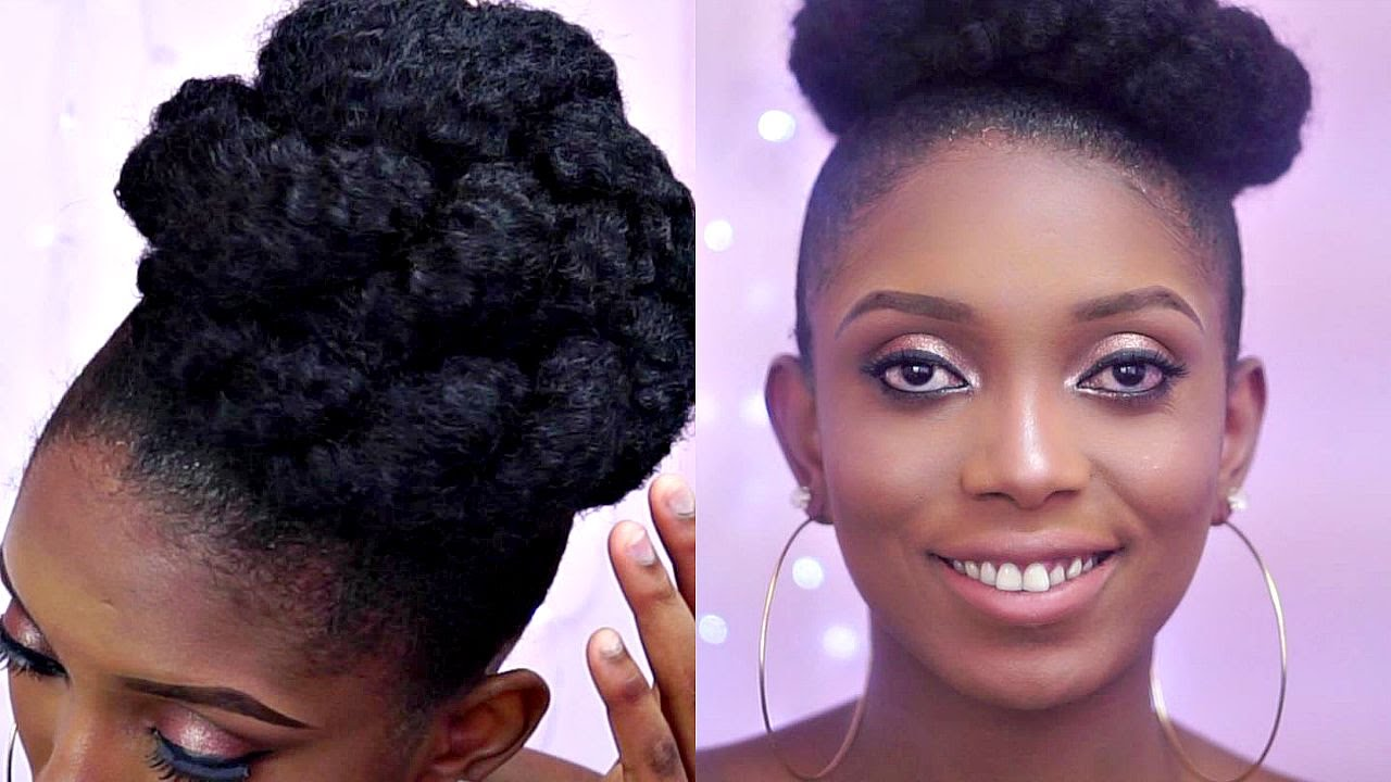 How To High Bun With Marley Hair On A Short Natural Hair 3
