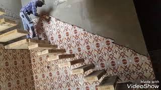 سيراميك ..حسين خليل الراشد ..تطبيك جدار الدرج.ربط السيراميك الاعلى معه الاسفل