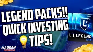 Madden Mobile 17 LEGEND PACKS AND QUICK SNIPING/INVESTING TIPS!!