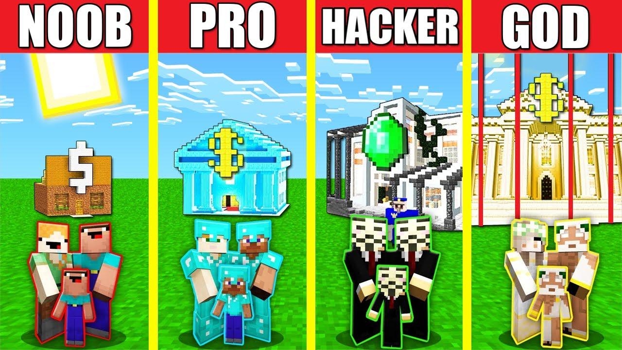 Minecraft Battle: BANK HOUSE BUILD CHALLENGE - NOOB vs PRO vs HACKER vs GOD Animation SECURE SAFEST