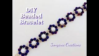 Trendy Beaded Bracelet 💞DIY beaded bracelet Bicone Bracelet.Bicone Flower  Bracelet