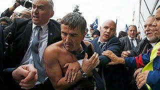 Air France bosses have shirts ripped off over jobs loss plan