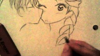 How to draw a chibi kissing another chibi on the cheek (Elsa & Jack Frost)