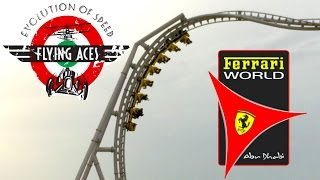 flying aces roller coaster offride pov worlds tallest loop ferrari world abu dhabi