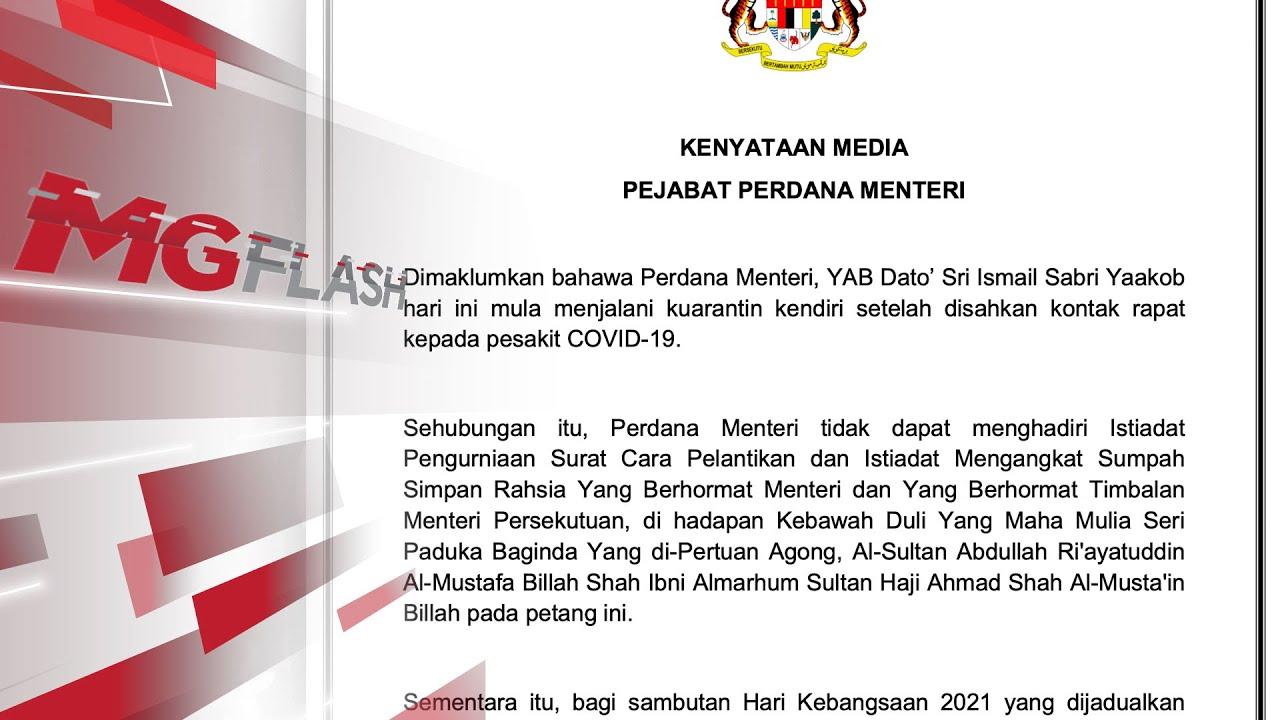 PM jalani kuarantin, tidak sertai majlis angkat sumpah Menteri