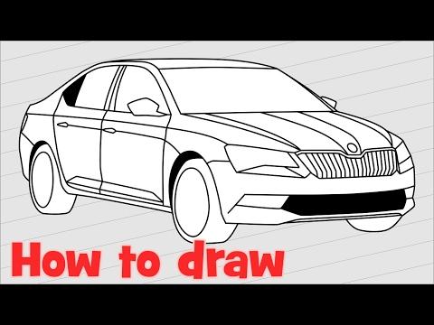 How To Draw A Car Skoda Superb Step By Step