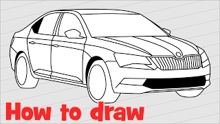 How to draw a car Skoda Superb step by step