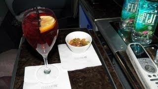 Hd Part 2 Mid-flight Qatar Airways Food Service Business Class 777-200lr Iah-doh