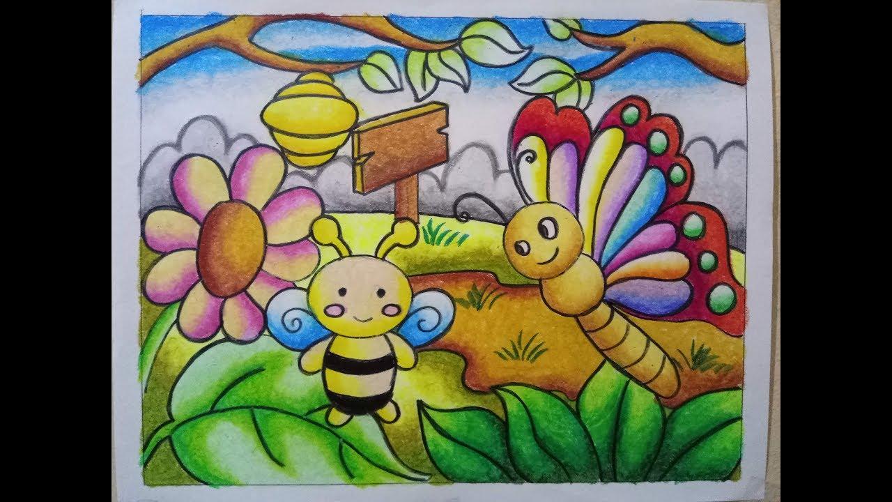 Mewarnai Gradasi dengan Crayon Oilpastel Butterfly and Bee