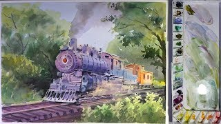 How to Paint Old Train Engine in Watercolor