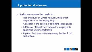 Employment law: Whistleblowing