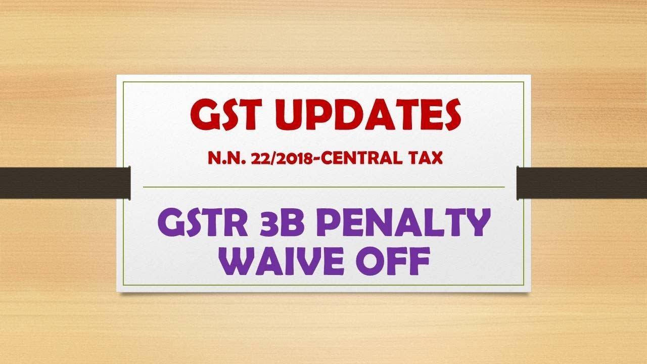 GSTR 3B PENALTY WAIVE OFF !!! N N  22/2018-CENTRAL TAX RATE !!! CA MANOJ  GUPTA !!!