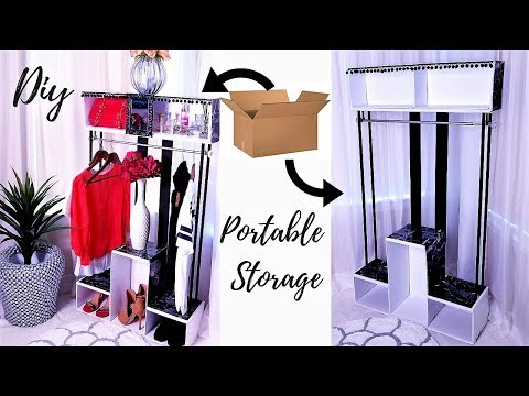 DIY PORTABLE CLOSET FOR SMALL SPACES! INEXPENSIVE STORAGE IDEAS 2019!!!