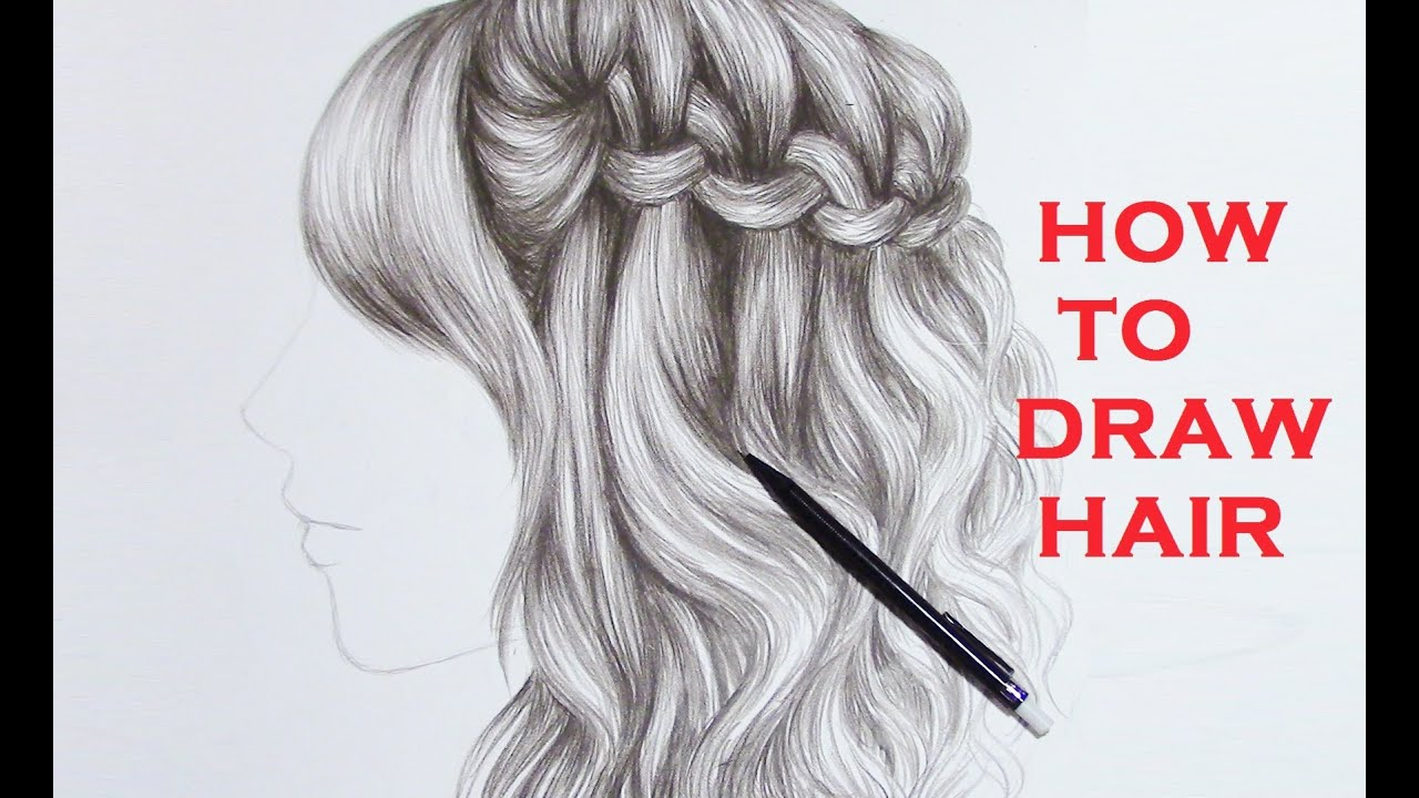 drawing braid curly hair realistic