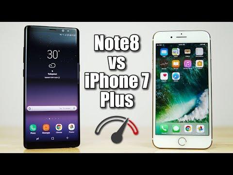 Galaxy Note 8 vs iPhone 7 Plus Speedtest Comparison - Fruit or Bot?