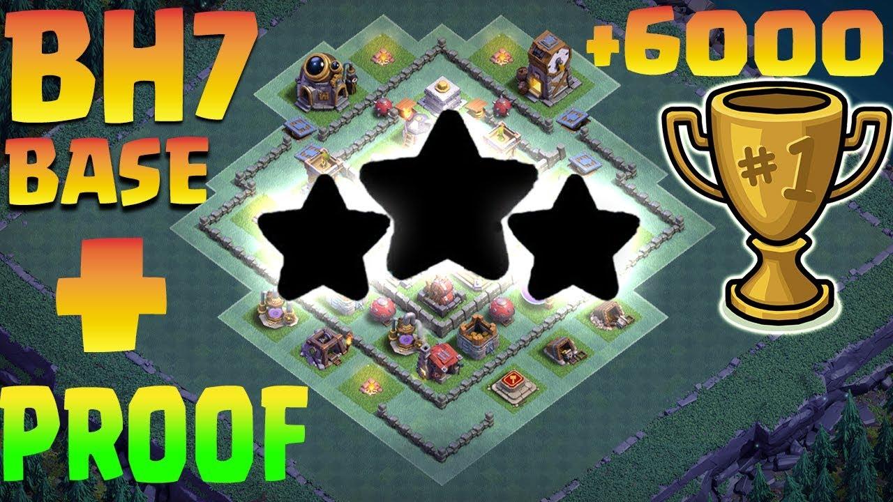 Best Bh 7 Builder Hall 7 Base Design Anti 1 Star Anti 2 Star Anti All Coc Clash Of Clans Youtube