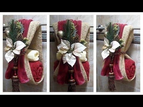 Como decorar las toallas de ba o para navidad f cil - Como decorar el bano ...