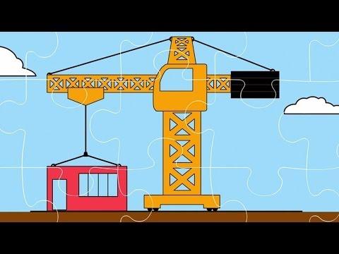 Интересный мультфильм для детей - Пазл (Строительный кран, Экскаватор, Трактор)