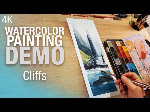 🎨 🖼️ Demo Aquarelle   Peindre une falaise dans le brouillard 4K