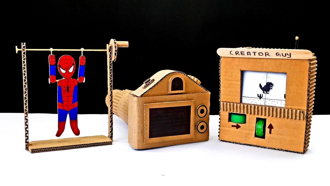 3 Amazing Diy Cardboard Projects Or Diy Cardboard Toys Youtube