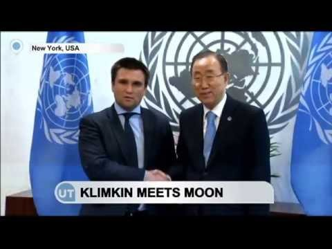UN Greets Ukraine: UN Secretary-General Ban Ki-Moon greets Ukraine's FM Pavlo Klimkin