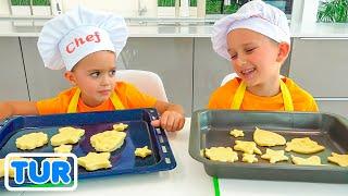 Vlad ve Niki anne için kahvaltı hazırlıyor