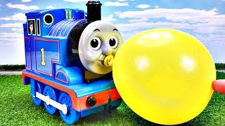 Learn colors with Thomas & Friends and balloons!CAR TOYS Water Tank きかんしゃトーマス 風船 幼児向け Gizmone
