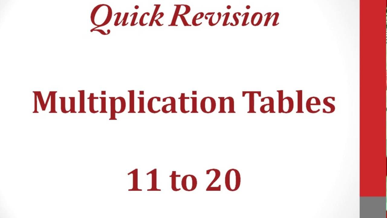 Worksheets Maths Tables 11 To 20 multiplication tables 11 to 20 youtube 20