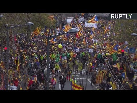 LIVE: Pro-Catalan independence protesters rally in Brussels