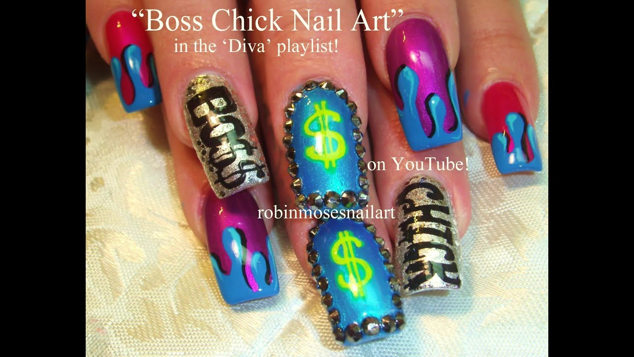 Rainbow paint drip with neon money bling nails diva nail art rainbow paint drip with neon money bling nails diva nail art design tutorial youtube prinsesfo Images
