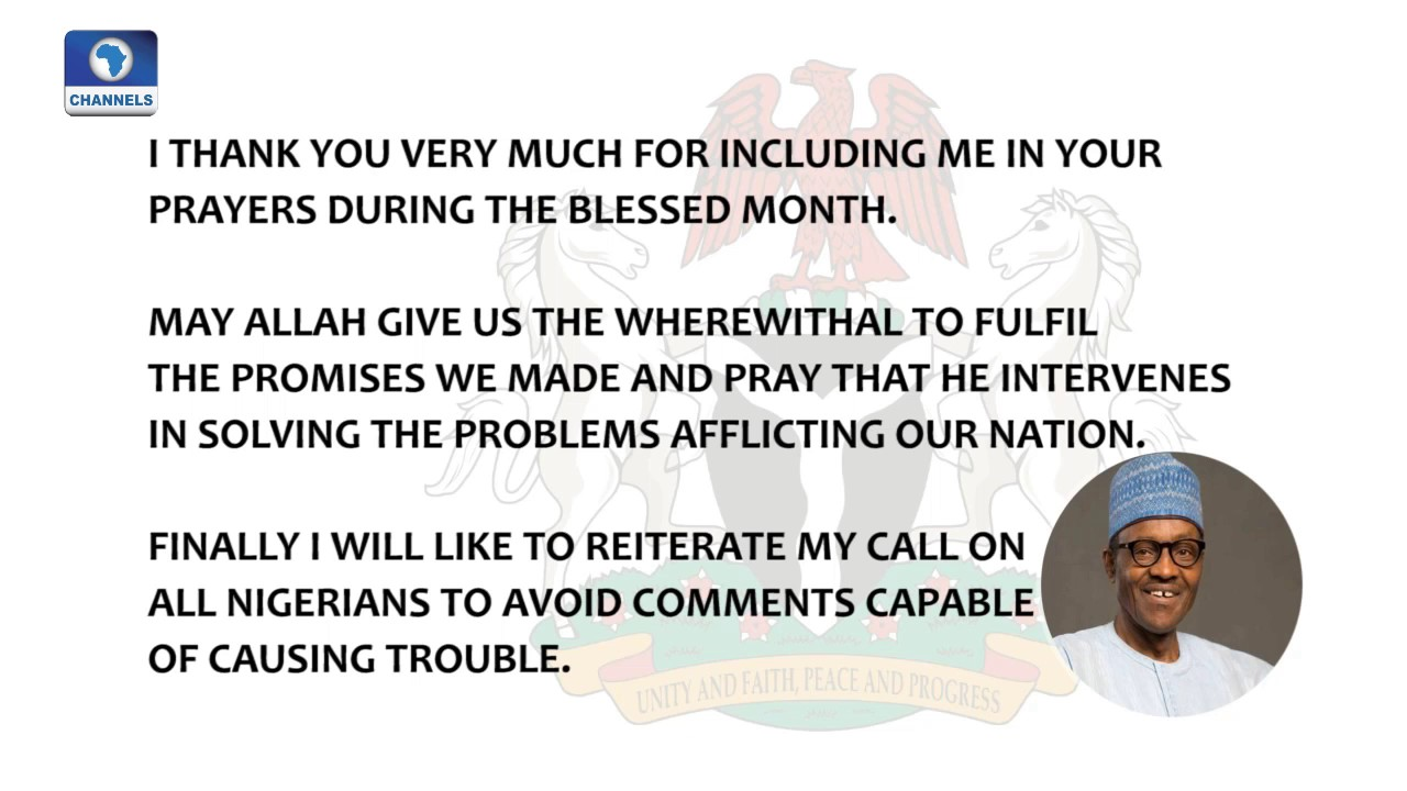 President Buharis Sallah Message To Nigerians Youtube