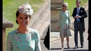 Pregnant Pippa Middleton is elegant in a floral summer dress at Royal wedding 2018