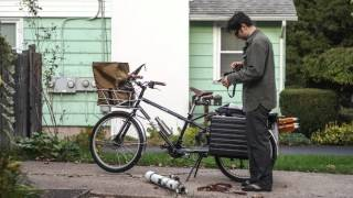 Loading a Yuba Mundo Cargo bicycle for Bicycle Astronomy