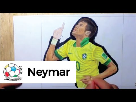 Dibujo de Neymar Jr celebrando un gol en la Copa Confederaciones