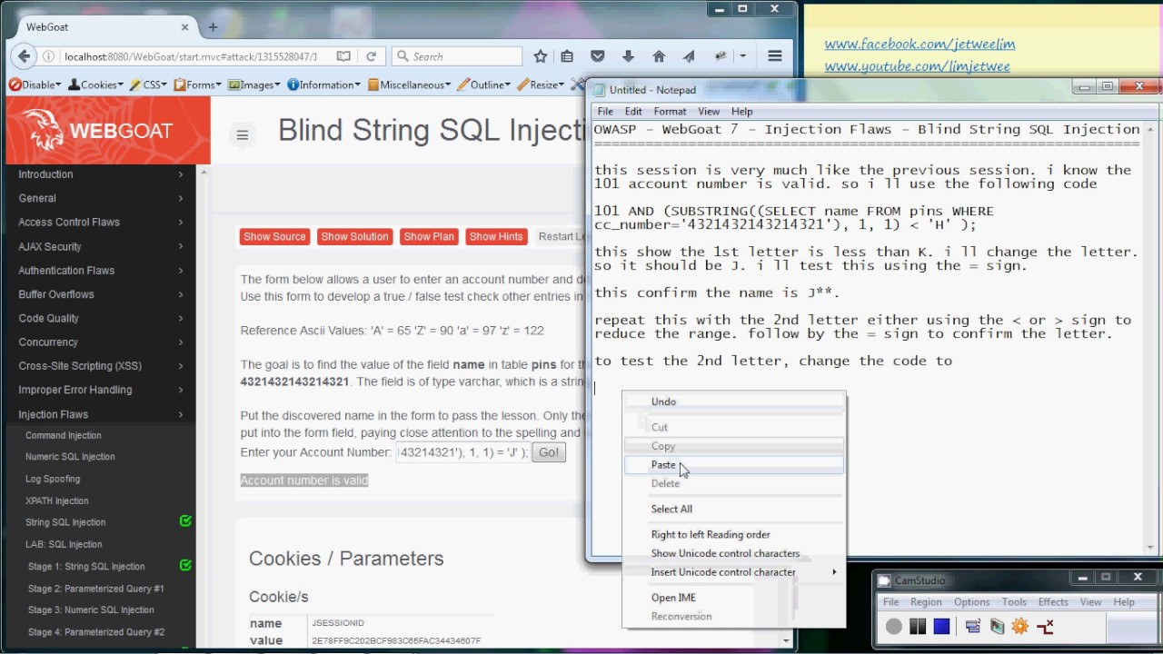 OWASP - WebGoat - Injection Flaws - Blind String SQL Injection
