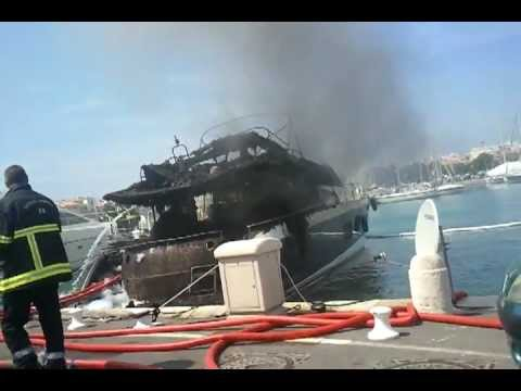 Yacht burning in antibes - May 10th 2012