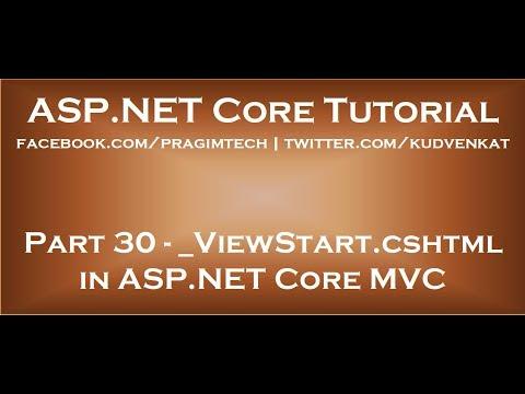 ViewStart Cshtml In ASP NET Core MVC