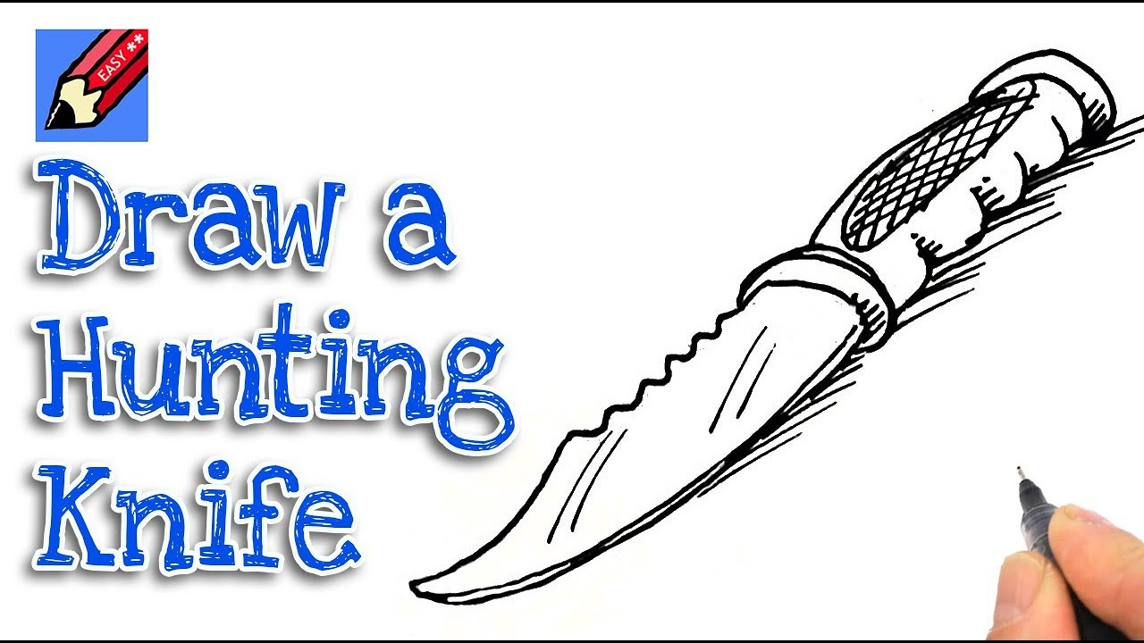how to draw a hunting knife real easy - youtube