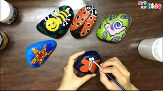 Rocks painting for kids   How to draw snail   Rock painting ideas   Painting for kids   Art for kids