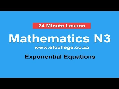 Mathematics N3 Exponential Equations YouTube