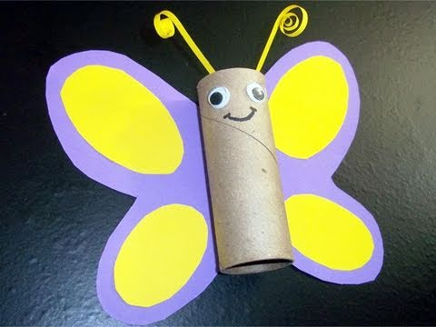How to make a toilet paper tube butterfly ep simplekidscrafts simplekidscrafts youtube - Manualidades con papel craft ...
