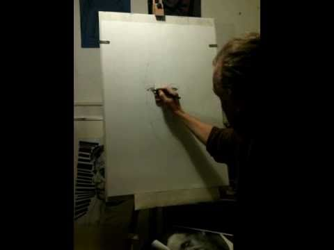 Timelapse video of partial charcoal portrait drawn in one and half hours by Steve Huison.