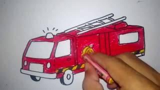 Cara Menggambar Mobil Pemadam Kebakaran Untuk Anak Sd Youtube