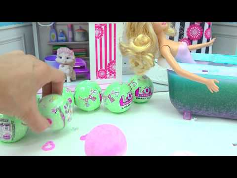Thumbnail: Barbie Takes Water Bath with LOL Surprise Charm Fizz Fizzy Bomb Blind Bag Balls