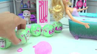 Barbie Takes Water Bath with LOL Surprise Charm Fizz Fizzy Bomb Blind Bag Balls