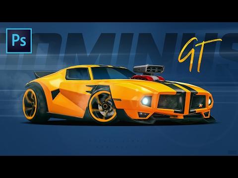 Making of Dominus GT Wallpaper - Photoshop Time Lapse Tutorial - Rocket League