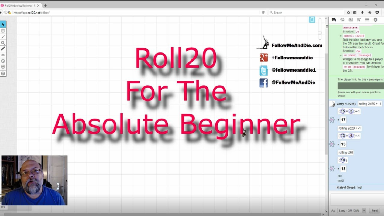Roll20 For The Absolute Beginner Ep  2 The Player: Getting Started