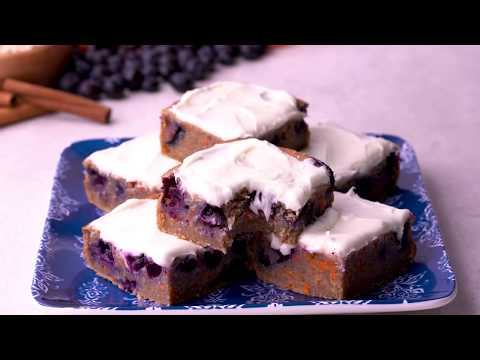 Blueberry Carrot Cake Bars (Gluten free, Dairy Free Option)